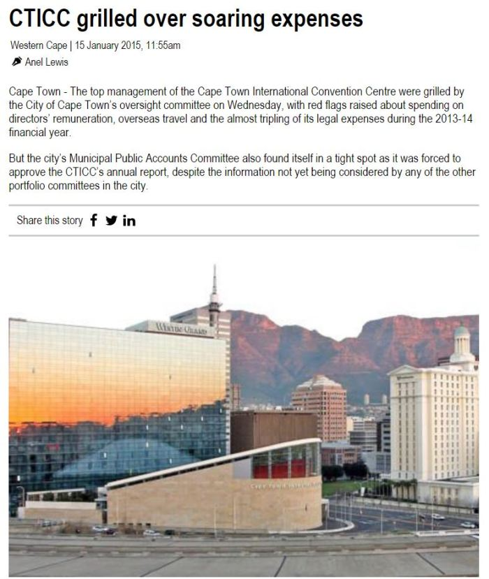 CTICC Grilled over soaring expenses